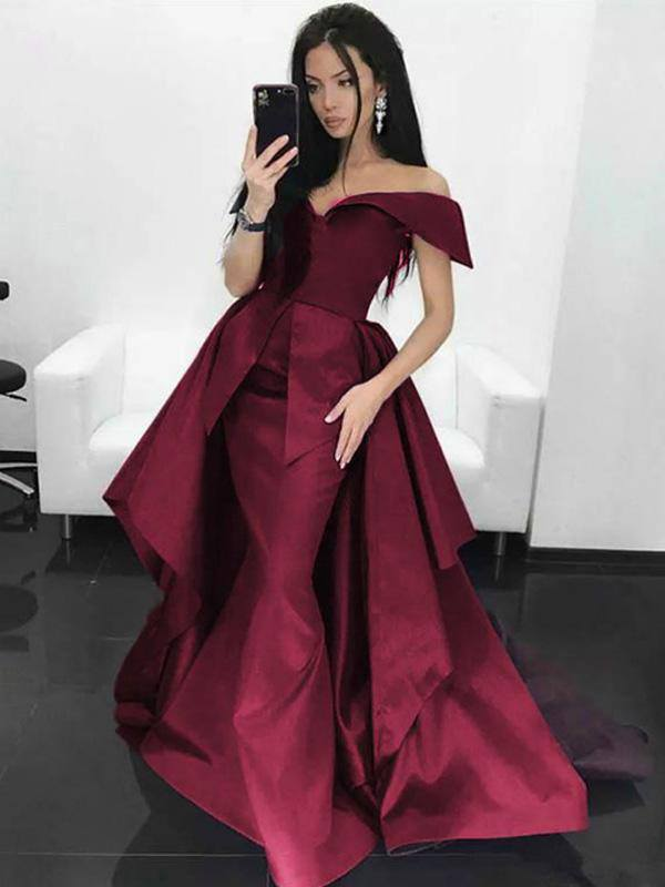 eedfe2d35553 Trumpet/Mermaid Off-the-shoulder Burgundy Prom Dresses Asymmetrical Satin  Evening Gowns AMY2560