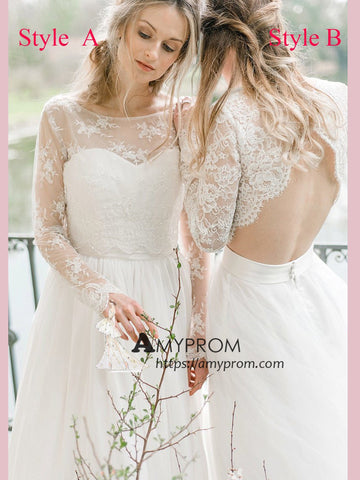 Romantic Wedding Dress Princess Long Sleeve Lace Open Back Wedding Gowns Elegant Bridal Gowns AMY2561