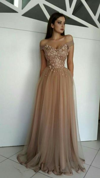 a46f11fb919c ... A-line Off-the-shoulder Brown Prom Dresses Tulle Lace Evening Gowns  AMY2563 ...