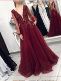 Burgundy V neck Prom Dresses A-line Long Sleeve Lace Evening Gowns AMY2577