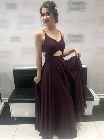 Burgundy Spaghetti Straps Prom Dresses A-line Simple Evening Dress AMY2585