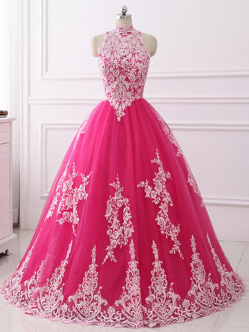 Fuchsia Ball Gowns Dress High Neck Applique Vintage Evening Dress AMY2588