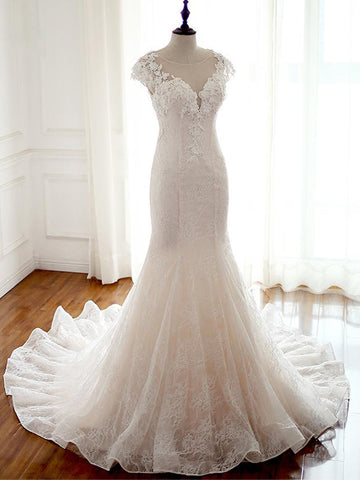 Chic Trumpet/Mermaid Wedding Dresses Long Modest Cheap Wedding Dress With Lace AMY258