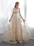 A-line Bateau 3/4 Sleeve Prom Dress Lace Boho Evening Dress AMY2593