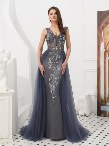 Trumpet/Mermaid Gray Long Prom Dresses V neck Rhinestone Evening Gowns AMY2594