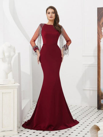 Trumpet/Mermaid Burgundy Long Prom Dresses Long Sleeve Bateau Graduacion Evening Gowns AMY2595
