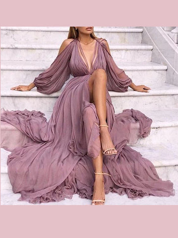 A-line V neck Long Prom Dresses With Slit Long Sleeve Simple Evening Dress AMY2598