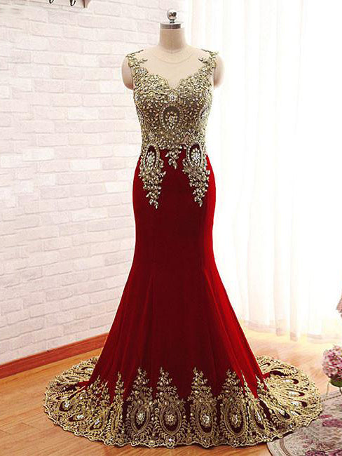 2018 Trumpet/Mermaid Prom Dresses Floor-length Scoop Modest Prom Dress Evening Dress AMY259