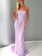 Trumpet/Mermaid Spaghetti Straps Lilac Long Prom Dresses With Lace Evening Gowns AMY2603