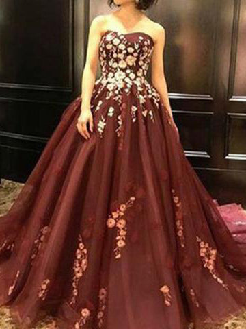 A-line Strapless Burgundy Long Prom Dresses With Applique Evening Dresses AMY2613