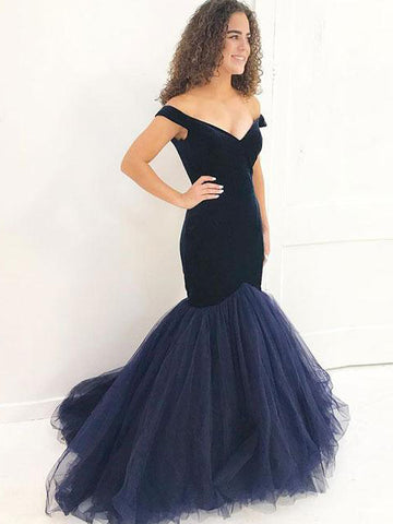 2018 Trumpet/Mermaid Prom Dresses Long Dark Navy Modest Prom Dress Evening Dresses AMY261