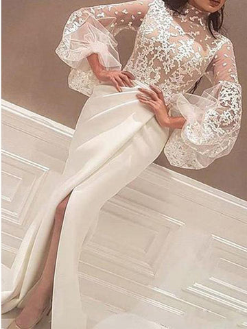 Trumpet/Mermaid High Neck Long Prom Dresses Ivory Long Sleeve Lace Evening Dresses AMY2630