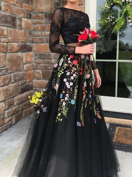 Two Pieces Black Prom Dresses With Lace Floral Long Sleeve Evening Gowns AMY2632