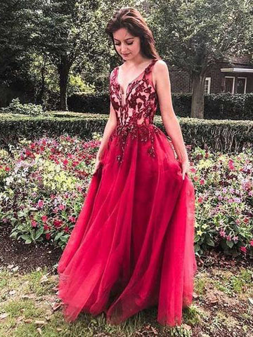 A-line Red Prom Dresses V neck Applique Long Evening Dresses AMY2635