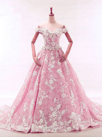 Pink Ball Gowns Off-the-shoulder Quinceanera Prom Dress Lace Evening Dress AMY2644
