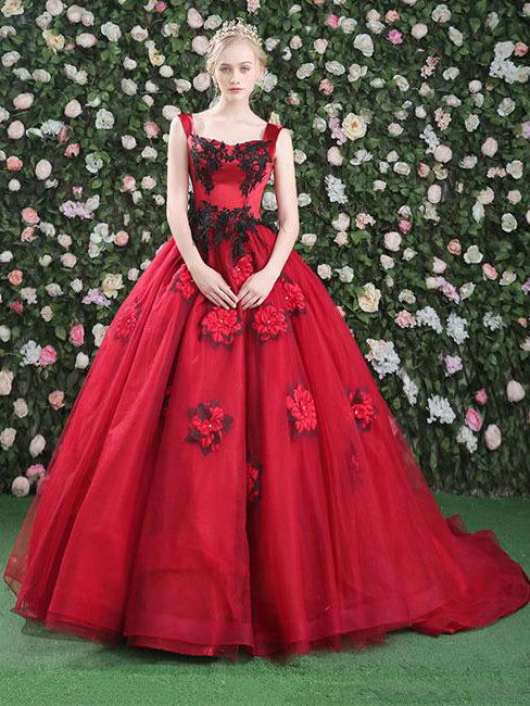 2018 Ball Gowns Prom Dresses Long Red Floral Modest Prom Dress Evening Dresses AMY264