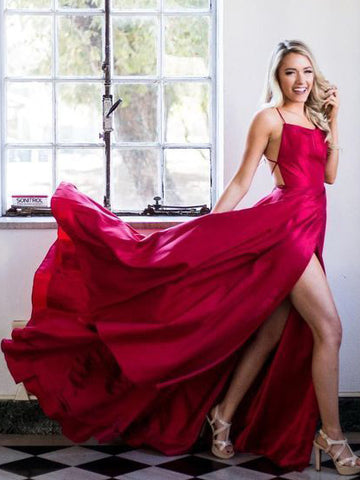 Red Spaghetti Straps Prom Dress With Slit Simple Evening Gowns AMY2650