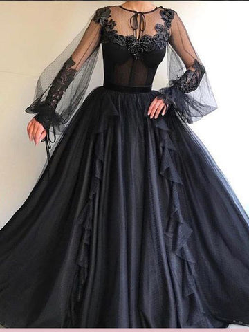 Black Long Sleeve Prom Dress A-line Scoop Tulle Evening Gowns AMY2652