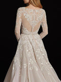 A-line Scoop Long Sleeve Lace Wedding Dress Rustic Bridal Gowns AMY2655