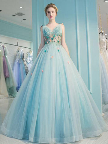 2018 Ball Gowns Prom Dresses Long Blue Floral Modest Prom Dress Evening Dresses AMY265