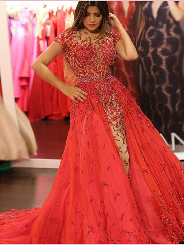 Short Sleeve Long Prom Dresses A-line Beading Sparkly Red Evening Gowns AMY2660