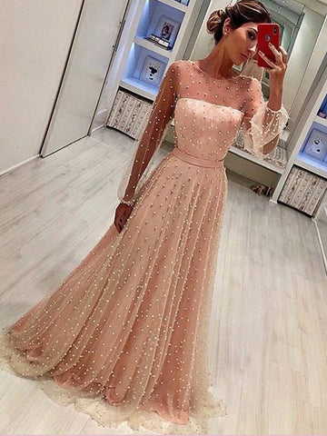 Chic A-line Long Sleeve Prom Dresses Beading Pink Long Evening Dress AMY2669