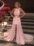 2018 Pink Prom Dresses Long Chiffon Modest Prom Dress Evening Dresses With Beading AMY266