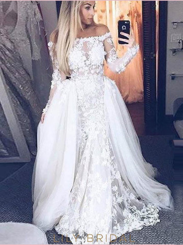 White Off-the-shoulder Long Prom Dresses A-line Long Sleeve Evening Gowns AMY2680