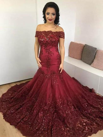 Trumpet/Mermaid Off-the-shoulder Burgundy Long Prom Dresses Lace Evening Gowns AMY2684