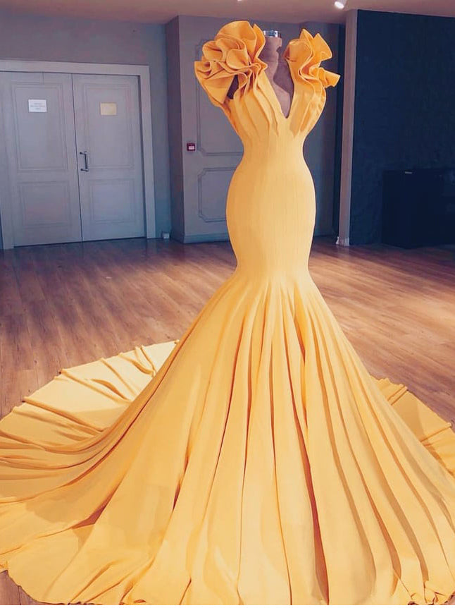 Marigold Mermaid Prom Dresses Flouncing V neck Long Evening Gowns AMY2686