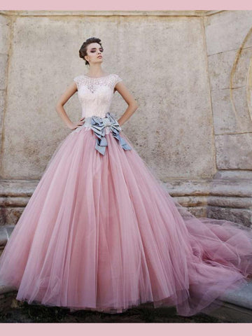 Blush Pink Lace Prom Dresses With Bowknot Ball Gowns Scoop Long Evening Gowns AMY2687