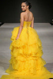 A-line Sweetheart Daffodil Prom Dresses Sweep/Brush Train Evening Gowns AMY2688
