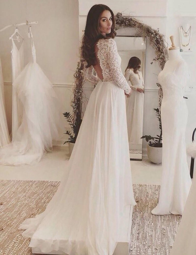 Chic A Line Wedding Dresses Long Sleeve V Neck Romantic Wedding Dress With Lace Amy269