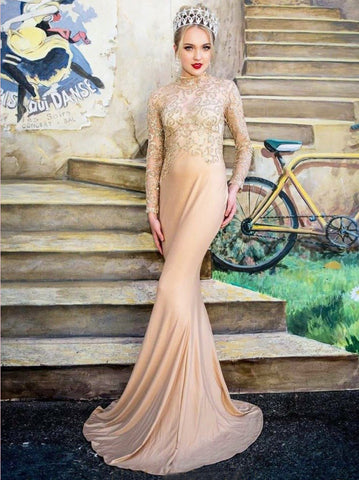 Trumpet/Mermaid High Neck Sparkly Prom Dresses Beading Evening Gowns AMY2690