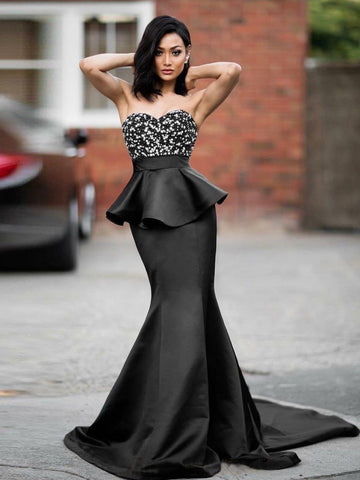 Trumpet/Mermaid Sweetheart Black Prom Dresses Beading Evening Dresses AMY2691
