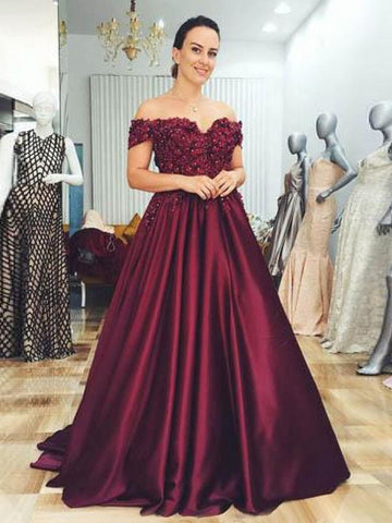 A-line Off-the-shoulder Burgundy Prom Dresses With Lace Evening Gowns AMY2694