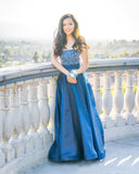 Chic A-line Blue Long Prom Dresses Strapless Beading Modest Evening Dress AMY2697