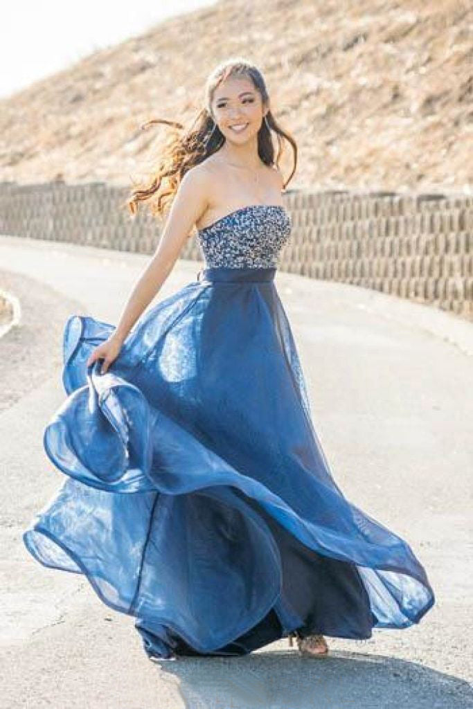 Chic A-line Blue Long Prom Dresses Strapless Beading Modest Evening Dress AMY2696