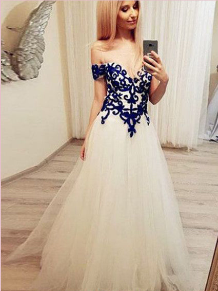 Chic A-line Off-the-shoulder Long Prom Dresses Applique Evening Dress AMY2698