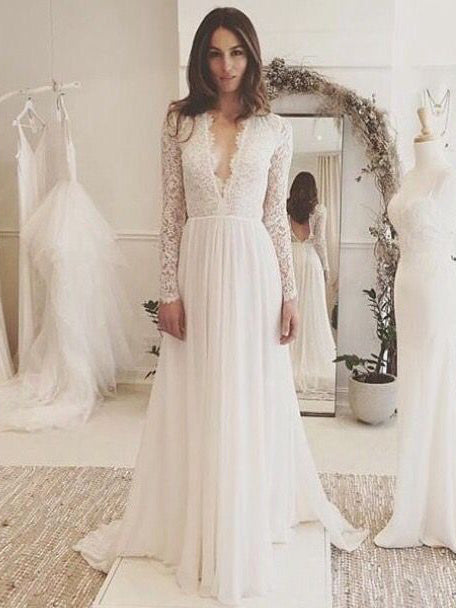Chic A-line Wedding Dresses Long Sleeve V neck Romantic Wedding Dress With Lace AMY269