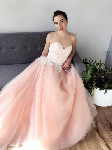 Chic Blush Pink Sweetheart Long Prom Dresses Lace Evening Dress AMY2705