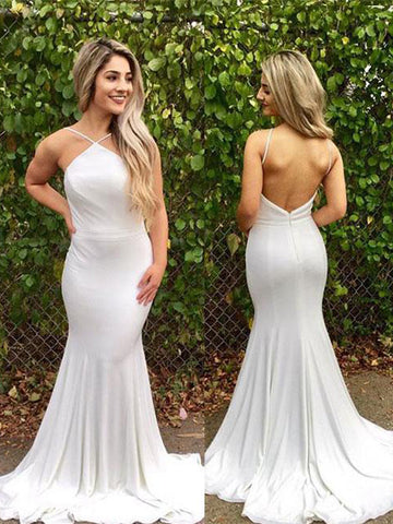 2018 Trumpet/Mermaid Prom Dresses Spaghetti Straps White Long Prom Dress Evening Dresses AMY270