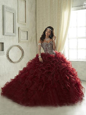 Ball Gowns Sweetheart Evening Dress Beading Burgundy Quinceanera Dress AMY2720