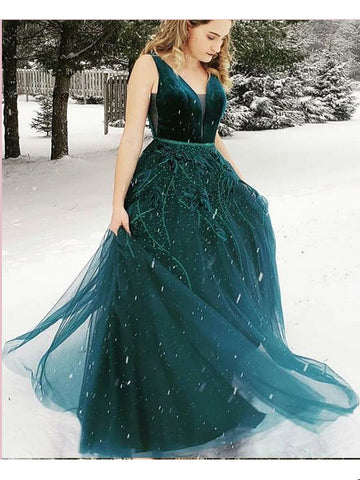 Dark Green Long Prom Dresses A-line V neck Flowy Evening Gowns AMY2721
