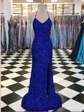 Trumpet/Mermaid Royal Blue Long Prom Dresses Spaghetti Straps Beading Evening Gowns AMY2722