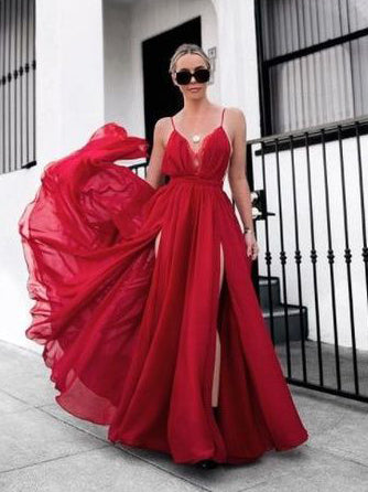 A-line Spaghetti Straps Long Prom Dresses Simple Red Evening Gowns AMY2723