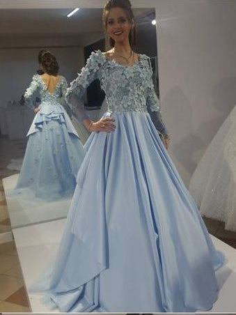 A-line Scoop Long Sleeve Long Prom Dresses Light Sky Blue Lace Evening Gowns AMY2724