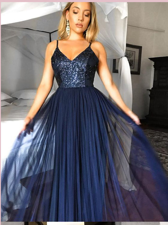 Dark Navy Long Prom Dresses A-line Spaghetti Straps Sequins Evening Gowns AMY2725
