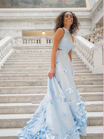 Light Sky Blue Long Prom Dresses A-line Scoop Applique Evening Dresses AMY2727