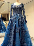 A-line Long Sleeve Blue Prom Dresses Scoop Lace Beading Elegant Evening Dresses AMY2728
